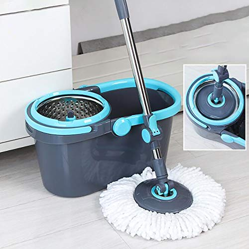 ZHONGYI666 360 Degree Spinning Mop Bucket and Bucket Cleaning Set,Double Drive Dry and Wet Use,strengthening Telescopic Rod Disassemble The Dehydration Basket,hangable,Comes with 4 Mop Cloth