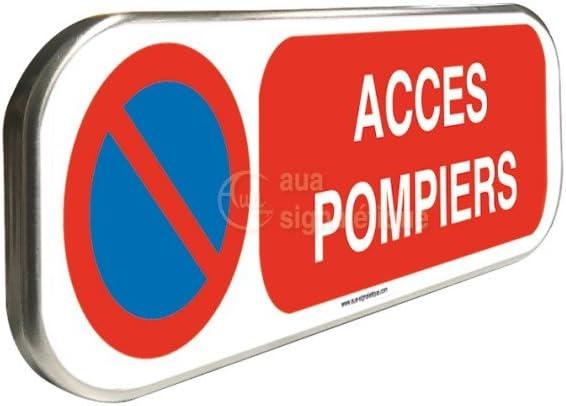 Panneau Stationnement Interdit Acc/ès Pompiers Aluminium Type Routier /équip/é de Rail de Fixation au Dos 350x150 mm alu Type Routier, Panneau Stationnement Interdit acc/ès Pompiers