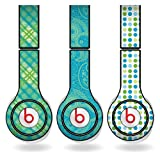 Green and Teal Different Pattern Set of 3 Headphone Skins for Beats Solo HD Headphones – Removable Vinyl Decal!, Best Gadgets