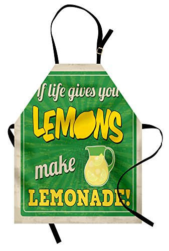 Ambesonne Quote Apron, Vintage Pop Art Advertising Design If Life Gives You Lemon Make Lemonade, Unisex Kitchen Bib Apron with Adjustable Neck for Cooking Baking Gardening, Green Yellow and -