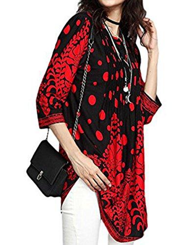 Casual Moda Simple Collo Bluse Tops Shirts Maglietta Lungo Tunica Autunno Camicie Donne Maniche 4 Rotondo Maglie Fashion Rosso Floreali Quotidiani 3 rIqrwPC