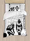 Ambesonne Sports Duvet Cover Set Twin Size, Grungy American Football Image International Team World Cup Kick Play Speed Victory, Decorative 2 Piece Bedding Set with 1 Pillow Sham, Black White