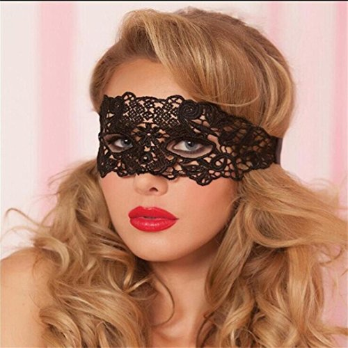 Women Masquerade Metal Lace Mask,Cywulin Catwoman Halloween Cutout Pretty Party Evening Prom Mystery Mask (A)]()
