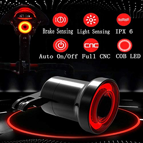 Famolay Smart Bike Tail Light USB Rechargeable Ultra Bright, Brake Sensing Bicycle Rear Light Auto Start/Stop, IPx6 Waterproof High Intensity COB LED Lamp Accessories Fits On Any Bikes,Easy to Install