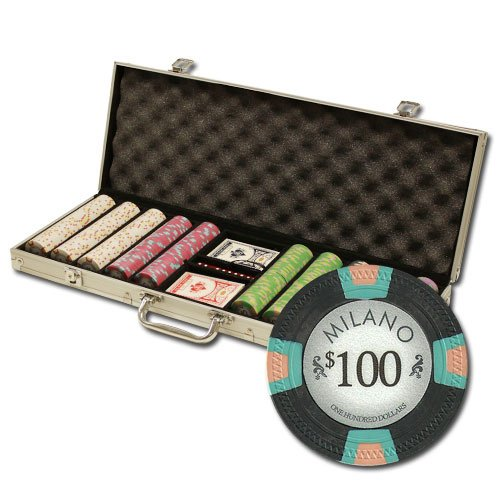 Claysmith Gaming 500 Count Milano Poker Set - 10 Gram Premium Casino Grade Clay Chips with Aluminum Case, Playing Cards, Dealer Button for Texas Hold'em, Blackjack, Casino -