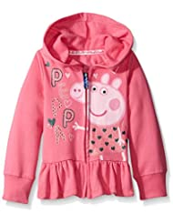 Peppa Pig Little Girls' Zip Through Ruffle Hoody