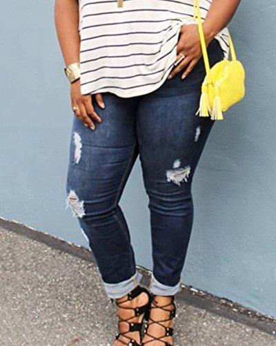 Elástico Leggings Mezclilla Vaqueros Rotos Mujer Jeans Talla Push Alta Cintura Flacos Pantalones Grande Pantalones Azul Up qwUxAX