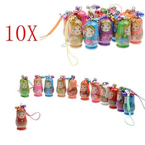 baoshihua Wooden Keychain Hand Painted Nesting Matryoshka Russian Dolls Phone Charm Handbag Pendant Decoration Cute Keychain--( ()
