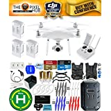 DJI Phantom 4 Advanced Drone MEGA Ready To Fly EXTREME ACCESSORY BUNDLE With 3 Batteires (Total), Vest Strap, Extra Props, Landing Pad, Filter Kit Plus Much More (Hard Shell)