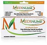 Medinumb Lidocaine Numbing Cream (2oz/56g) Topical Anesthetic Pain Relief - Waxing, Laser, Electrolysis & Tattoos - Soothing Aloe, Jojoba, Tea Tree - USA