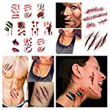 smile angel Halloween Simulation Scar Stickers Cosplay Wound Zombie Scars Waterproof Tattoo Stickers (10pcs)