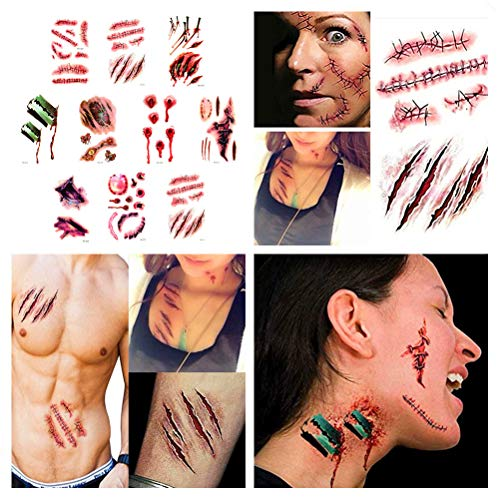 smile angel Halloween Simulation Scar Stickers Cosplay Wound Zombie Scars Waterproof Tattoo Stickers (10pcs)]()