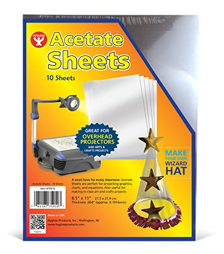 (Hygloss 75910 Products Transparency Film Acetate Sheets for Overhead Projectors, Arts & Craft Projects)