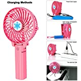 Portable Fan,mini usb rechargeable fan,for Traveling,Fishing,Camping,Hiking,Backpacking,BBQ,Baby Stroller,Picnic,Biking,Boating (Pink)