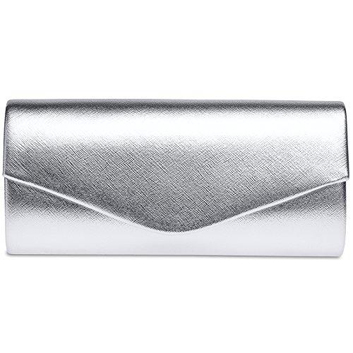 CASPAR TA420 Bolso de Mano Fiesta para Mujer / Clutch Metalizado con Cadena Desmontable Plateado