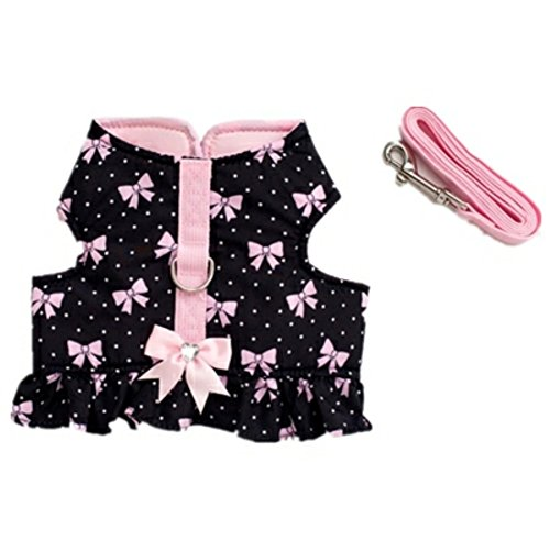 Stock Show Pet Dog Vest Harness and Leash Set with Cute Bowtie Small Dog Outdoor Walking Jackets Breathable Fashion Jeans Cloth for Small Puppy Dogs Teddy Poddle (M, Butterfly)