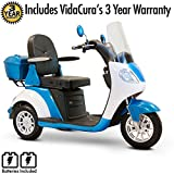 EWheels (EW-42) Luxurious, Over-Sized, High Speed, Long Range 3-Wheel Scooter with 3 Year Extended Warranty (Blue and White)