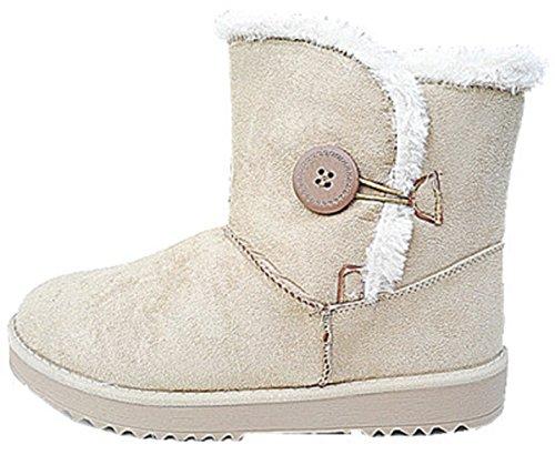 Femme Fille Bottine botte Chaussure fourrées fur boots Plat Talon BEIGE 816