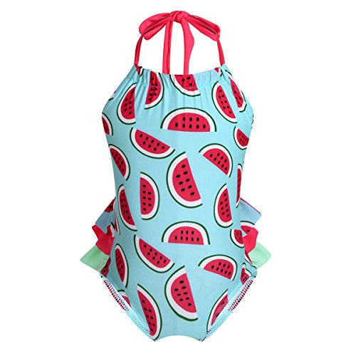 (FEESHOW Baby Toddler Girls Cute Bow One Piece Polka Dots Swimsuit Ruffle Swimwear Bathing Suit Halter Watermelon Red 18-24 Months)