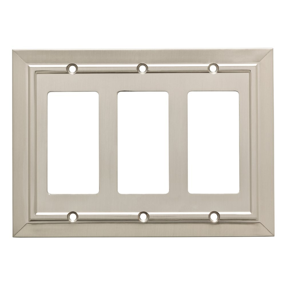 Franklin Brass W35226-SN-C Classic Architecture Triple Decorator Wall Plate/Switch Plate/Cover, Satin Nickel by Franklin Brass