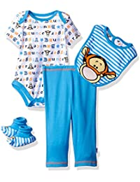Disney Baby Boys' Tigger 4-Piece Bodysuit, Pant, Bib, and Booties Set