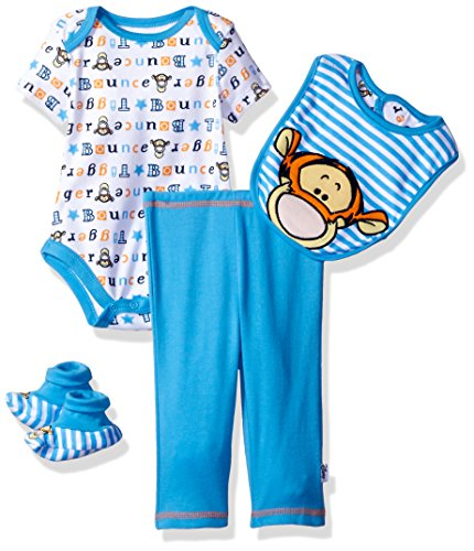 Disney Baby Boys' Tigger 4-Piece Bodysuit, Pant, Bib, and Booties Set, Azure Blue, 6/9 (Baby Tigger)