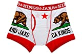 Kings and Jaxs Men's California Boxer Briefs (White/Red, Small)
