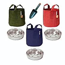 Root Pouch Fabric Plant Pot Set of 3 Reusable Red, Navy Blue, Green 5 Gallon Includes Saucers and Hand Trowel