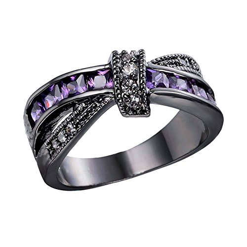 Junxin Womens Black Gold White And Purple Amethyst Cubic Zirconia Criss Cross Rings Round Princess Cut Size10