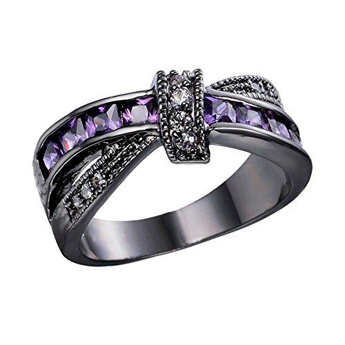 Junxin Womens Black Gold White And Purple Amethyst Cubic Zirconia Criss Cross Rings Round Princess Cut