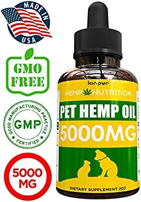 Hemp Oil for Dogs & Cats - 5000mg - Calming Mood, Anxiety & Stress Relief -  Hip & Joint Support - Organic Pet Hemp Oil - Calming Treats for Dogs- Made