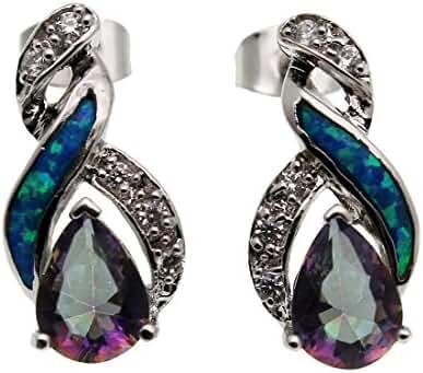 Stud Earrings 925 Sterling Silver Australian Blue Opal Women Jewelry CHOOSE YOU STYLE