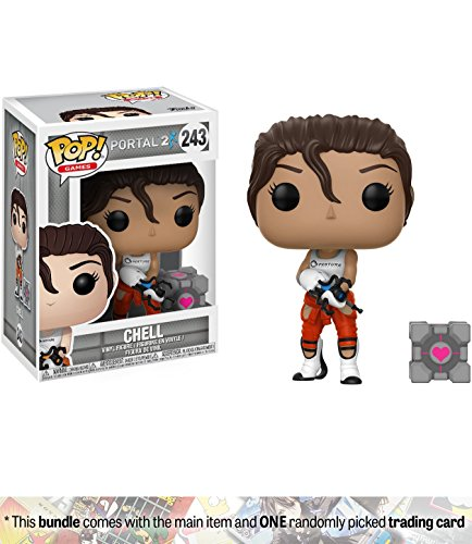 Chell w/ Portal Gun: Funko POP! Games x Portal Vinyl Figure + 1 Video Games Themed Trading Card Bundle (21040) (P Gun Body Portal)