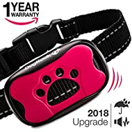 Dog Bark Collar Upgrade 2018 - Humane Anti Bark Training Collar - Vibration No Shock Collar - Stop Barking Collar for Small Medium Large Dogs - Best No Bark Control Collar - Waterproof Device Pet Safe
