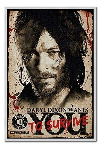Approx 38 x 26 inches 96.5 x 66 cms The Walking Dead Daryl Needs You Poster Cork Pin Memo Board Silver Framed