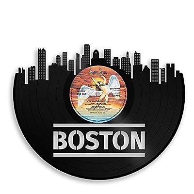 Boston Skyline Wall Art Vinyl Recycled Record - VinylShopUS