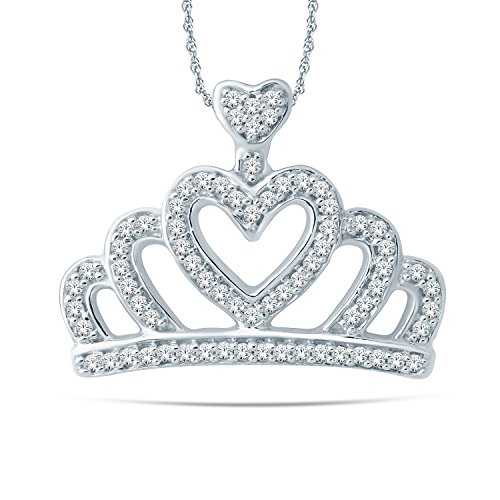 10 Kt White Gold Royal Crown Diamond Pendant Necklace. (0.20 Ct, IJ, I2-I3) 18