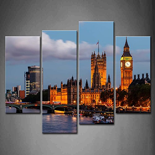 4 Panel Wall Art Big Ben Westminster Bridge In Evening London United Kingdom Boat Light Painting Pictures Print On Canvas Architecture The Picture For Home Modern Decoration Ready To Hang (Picture Bridge London)