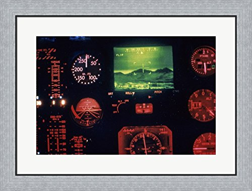 View of the Cockpit Control Panel in an AH-64 Apache Helicopter Training Simulator Framed Art Print Wall Picture, Flat Silver Frame, 30 x 23 - Frame Simulator Picture