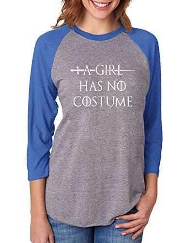 Easy Arya Stark Costume (A Girl Has No Costume - Funny Halloween 3/4 Women Sleeve Baseball Jersey Shirt Small blue/gray)