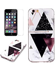 for iPhone 7/8 Marble Case and Screen Protector,Unique Pattern Design Ultra Thin Slim Fit Soft Silicone Phone Case Bumper,QFFUN Shockproof Anti-Scratch Protective Back Cover - Black Triangle