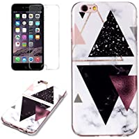 for iphone 7 Plus/iphone 8 Plus Marble Case and Screen Protector,Unique Pattern Design Ultra Thin Slim Fit Soft Silicone Phone Case Bumper,QFFUN Shockproof Anti-Scratch Protective Back Cover - Black Triangle