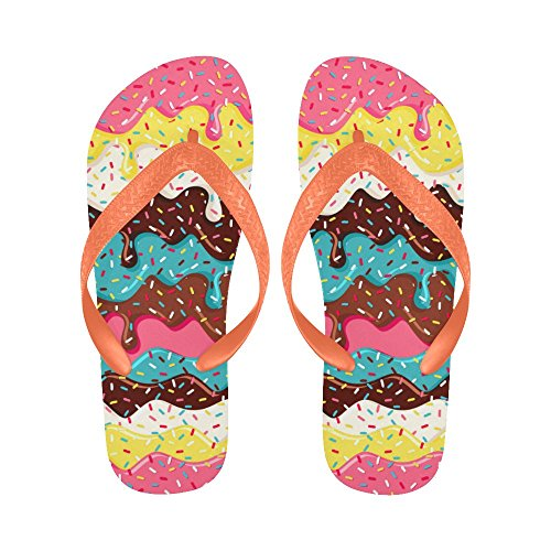 InterestPrint Non-Slip Flip Flop Slippers, Colorful Bright Donut Summer Beach Slim Thong Sandal Outdoor Casual (Donut Thong)