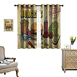 Hamburger Window Curtain Fabric Retro Hand Drawn Style Burger and Ingredients Gourmet Taste Delicious Fast Food Drapes for Living Room W72 x L72 Multicolor (B07KV8QMJD) | Amazon price tracker / tracking, Amazon price history charts, Amazon price watches, Amazon price drop alerts