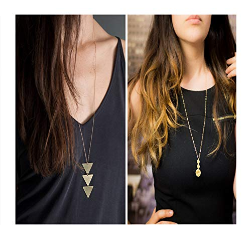 Dcfywl731 Fashion Three Triangle Arrow Long Chain Pendant Necklace for Women Metal Geometric Sweater Necklace Punk Jewelry (2pcs Gold Trigangle +Disc)