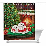 InterestPrint Dogs Celebrate New Year with Christmas Tree and Fireplace Fabric Bathroom Decor Shower Curtain Set with Hooks, 72 Inches Long