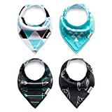 ALVABABY Bandana Bibs Resuable Boys Girls Unisex,Soft and Super Absorbent 100% Cotton,Baby Gifts for Drooling Feeding Teething (Pack of 4) SK09-CA