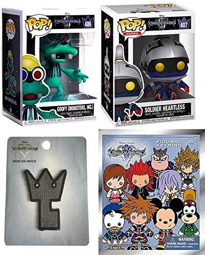 Release Soldier Kingdom Hearts III Goofy Figure Monsters, Inc. Games Bunded with + Heartless Vinyl + Disney Blind Bag Figural Backpack Hanger Keychain & Gamer Gear Patch Keyblade 4 Items