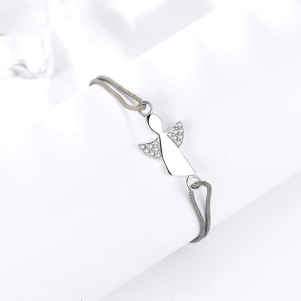 F.ZENI Damen Armband Schutzengel 925 Sterling Silber Armb/änder Gl/ücksbringer f/ür Frauen und M/ädchen 24cm Einstellbare Handarbeit Geflochtenes