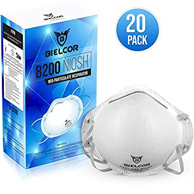 N95 Mask (20-Pack) Indoor Outdoor Professional Home Use Disposable Air Pollution Metal Particulates Saw Wood Particles Pet Dander Pollen NIOSH Certified Protection
